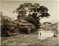 Village au bord de la riviere Nakajima qui traverse Nagasaki