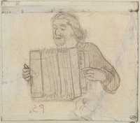 Paul Gauguin en costume breton jouant de l'accordeon