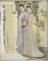 Deux nus dans un paysage (recto). Etude de deux femmes dans un paysage et Etude de paysage (verso)