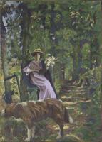 L'Allee, dit aussi Sous-bois a la dame au chien