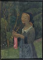 Fillette au bas rose ou Jeune bretonne tricotant