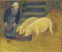 Bretonne donnant a manger aux cochons
