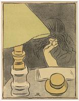 Femme lisant pres d'une lampe