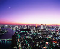 東京ビル群 東京タワー 富士山