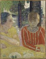 Reine Natanson et Marthe Bonnard au corsage rouge