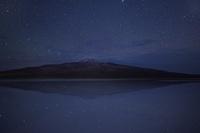 水に反射する星と火山