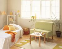 緑のソファーとベッド