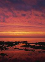 夕景のオホーツク海