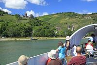 ライン川河畔のブドウ畑とシュタールエック城とクルーズ船