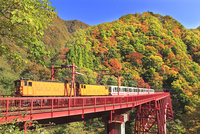 紅葉の黒部峡谷と黒部峡谷トロッコ電車