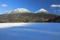 雪のオンネトーと雌阿寒岳と阿寒富士