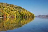屈斜路湖と和琴半島の紅葉 26120042157  写真素材・ストックフォト・画像・イラスト素材 アマナイメージズ