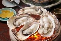 焼き牡蠣と炭火