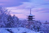 雪の八坂の塔と街並