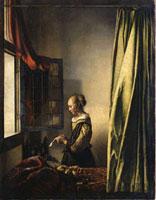 Brieflesendes Madchen am offenen Fenster/���ӂŎ莆��ǂޏ�
