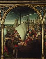 Das Massaker an den Pilgern; im Hintergrund Ursula im w