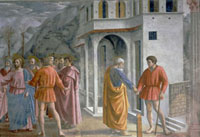 Detail of the famous fresco by Masaccio of the tribute money