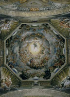 Majestic fresco by Correggio in the dome of the Cathedral of