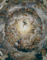 Detail of the fresco in the dome of the Cathedral of Parma w
