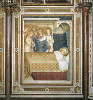 Christ appears to St Martin in his sleep,wearing the cloak