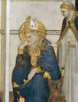 "Detail depicting St. Ambrose from ""The dream of St. Ambros"