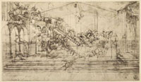 Study of the background of the Adoration of the Magi; pen dr