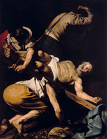 The Crucifixion of Saint Peter. Work by Caravaggio, conserve