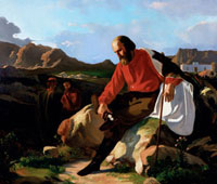 Garibaldi in Caprera. Painting by Cabianca,exhibited at the