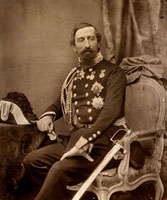 Three-quarter- length portrait of general La Marmora. He is