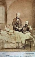 Portrait of dr. Nelaton and of Garibaldi who are shaking han