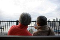 公園のベンチに座るシニア夫婦の後姿