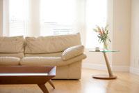 リビングルームのソファとテーブル