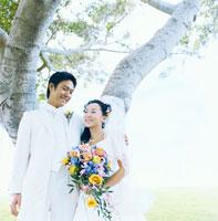 木陰で肩を抱き合う日本人の新郎新婦
