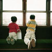 電車の窓から外を眺める兄弟