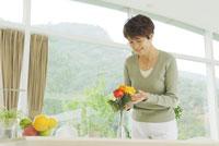 花瓶に花を生けるシニア女性 30015000849| 写真素材・ストックフォト・画像・イラスト素材|アマナイメージズ