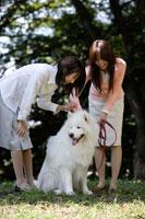 公園にいる大型犬と20代女性2人