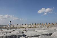 防波堤を歩く女性