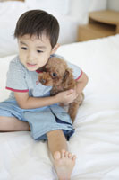 犬とくつろぐ男の子 30018001702| 写真素材・ストックフォト・画像・イラスト素材|アマナイメージズ