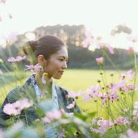 コスモスと浴衣姿の20代日本人女性