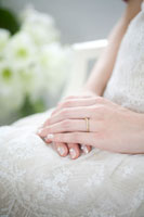 結婚指輪をつけた花嫁の手元