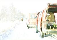 雪道に停まった車