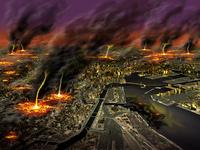 巨大地震直後の都市、大火災被害のイメージ