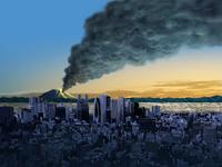 富士山の噴火 東京から富士山の噴火を臨むイメージ図