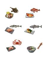 深海魚と料理 左上から:アンコウ、アコウダイ、スケトウダラ、ギンダラ、ズワイガニ、ホタルイカ