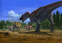 トリケラトプスの親子を狙うティラノサウルス