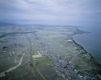 琵琶湖岸の水田地帯 (空撮)