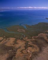 塩水性湿地 キアシシギとオーストラリアミヤコドリの重要な生息地 空撮