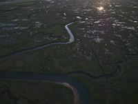 ホウカム国立自然保護区の湿地 空撮
