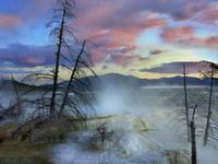 トラバーチンの地層から湧き出る水流