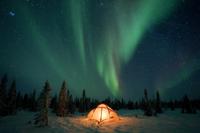 北方林の明かりのついたテントの上に広がるオーロラ